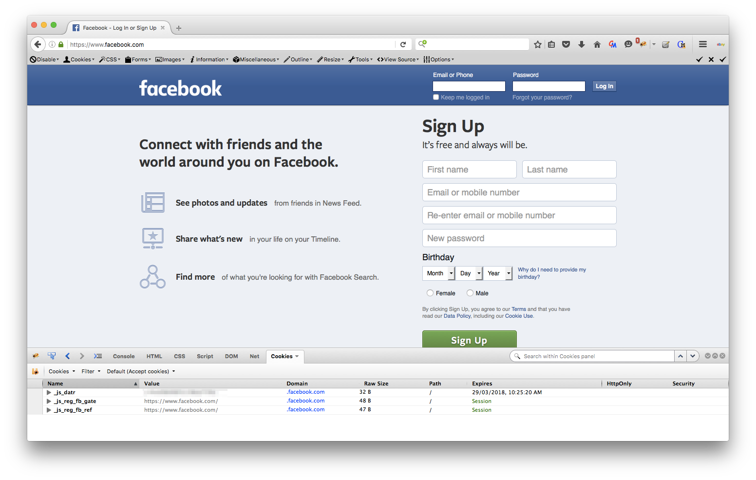 Firefox - facebook login page