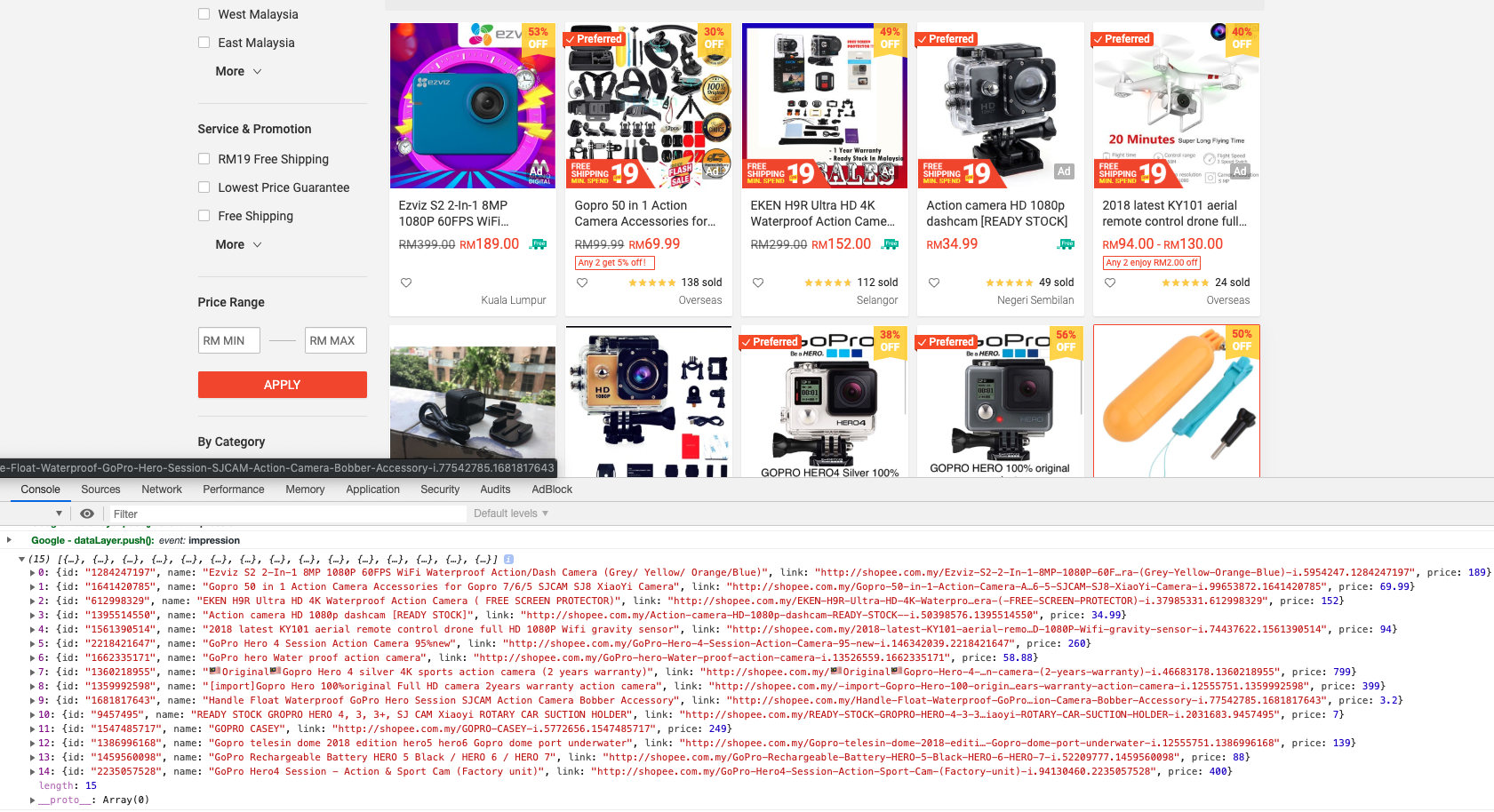 Shopee search content