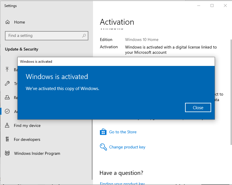 Windows 10 activated in VirtualBox